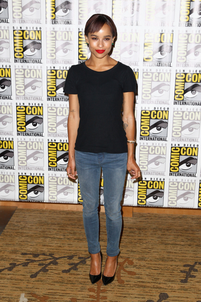 SAN DIEGO, CA - JULY 18:  Actress Zoe Kravitz attends 'Divergent' Comic-Con Press Line at San Diego Convention Center on July