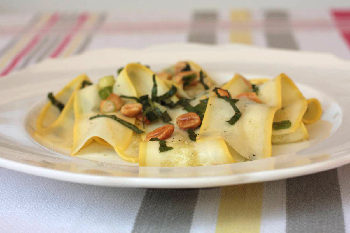 """<strong>Get the <a href=""""http://food52.com/recipes/5505-summer-squash-ribbons-with-thai-basil-and-peanuts"""" target=""""_blank"""">Su"""