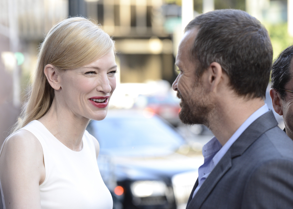 "Actress Cate Blanchett, left, and actor Peter Sarsgaard arrive at the LA Premiere of ""Blue Jasmine"" at the Academy of Motion"
