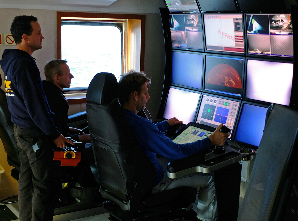 Odyssey Senior Project Manager Andrew Craig directs operations on the SS Gairsoppa shipwreck site from the ROV control room a