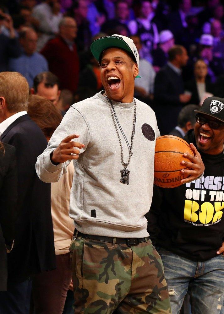 NEW YORK, NY - NOVEMBER 26: Jay-Z looks on before the Brooklyn Nets play against the New York Knicks at Barclays Center on No