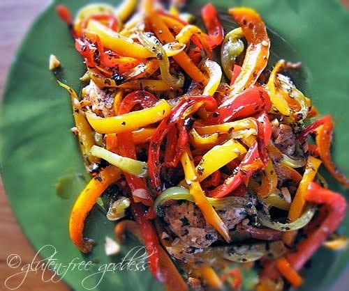 "<strong>Get the <a href=""http://glutenfreegoddess.blogspot.com/2009/09/easy-chicken-and-balsamic-peppers.html"" target=""_blank"