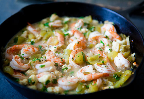 """<strong>Get the <a href=""""http://www.simplyrecipes.com/recipes/baked_shrimp_with_tomatillos/"""" target=""""_blank"""">Baked Shrimp wit"""