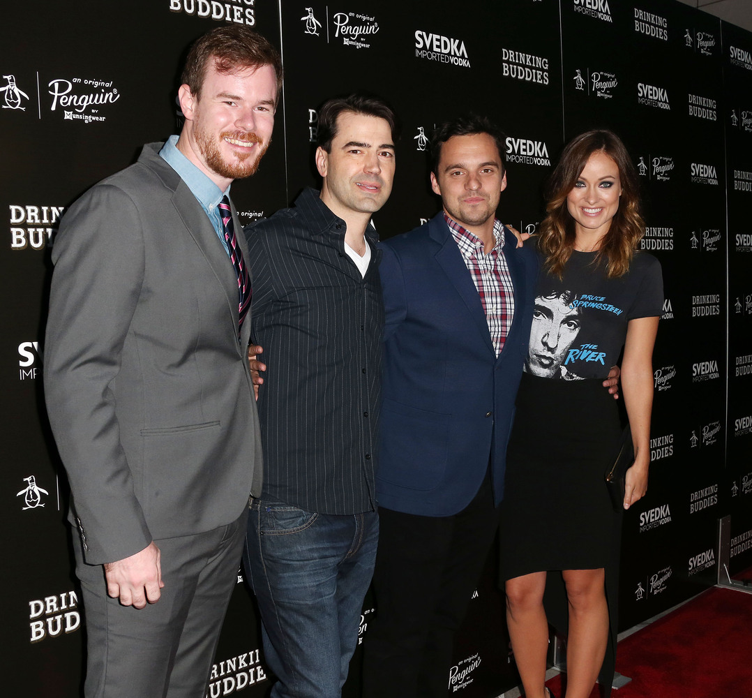 HOLLYWOOD, CA - AUGUST 15: (L-R) Director Joe Swanberg, actor Ron Livingston, actor Jake Johnson and actress Olivia Wilde att