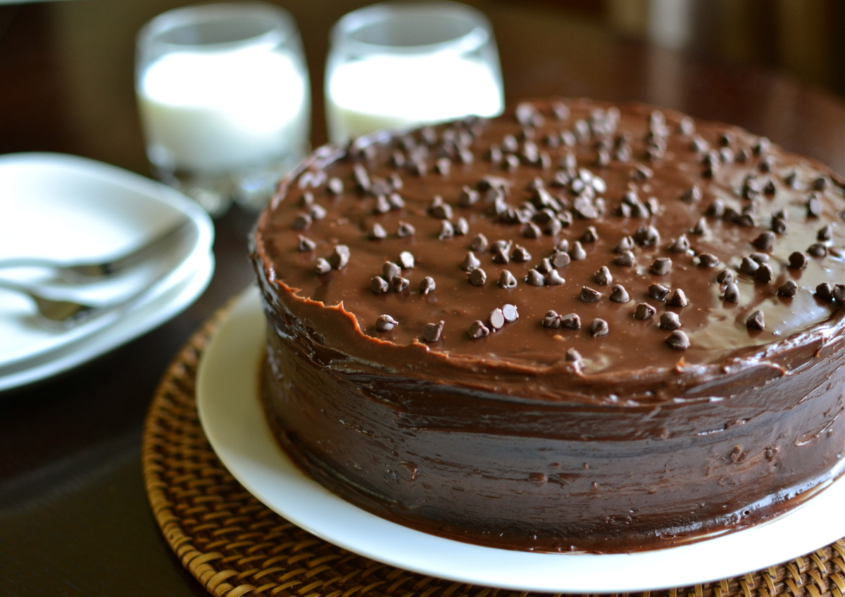"<strong>Get the <a href=""http://prettyyummyfoods.com/chocolate-chip-mayo-cake/"" target=""_blank"">Chocolate Chip Mayo Cake reci"