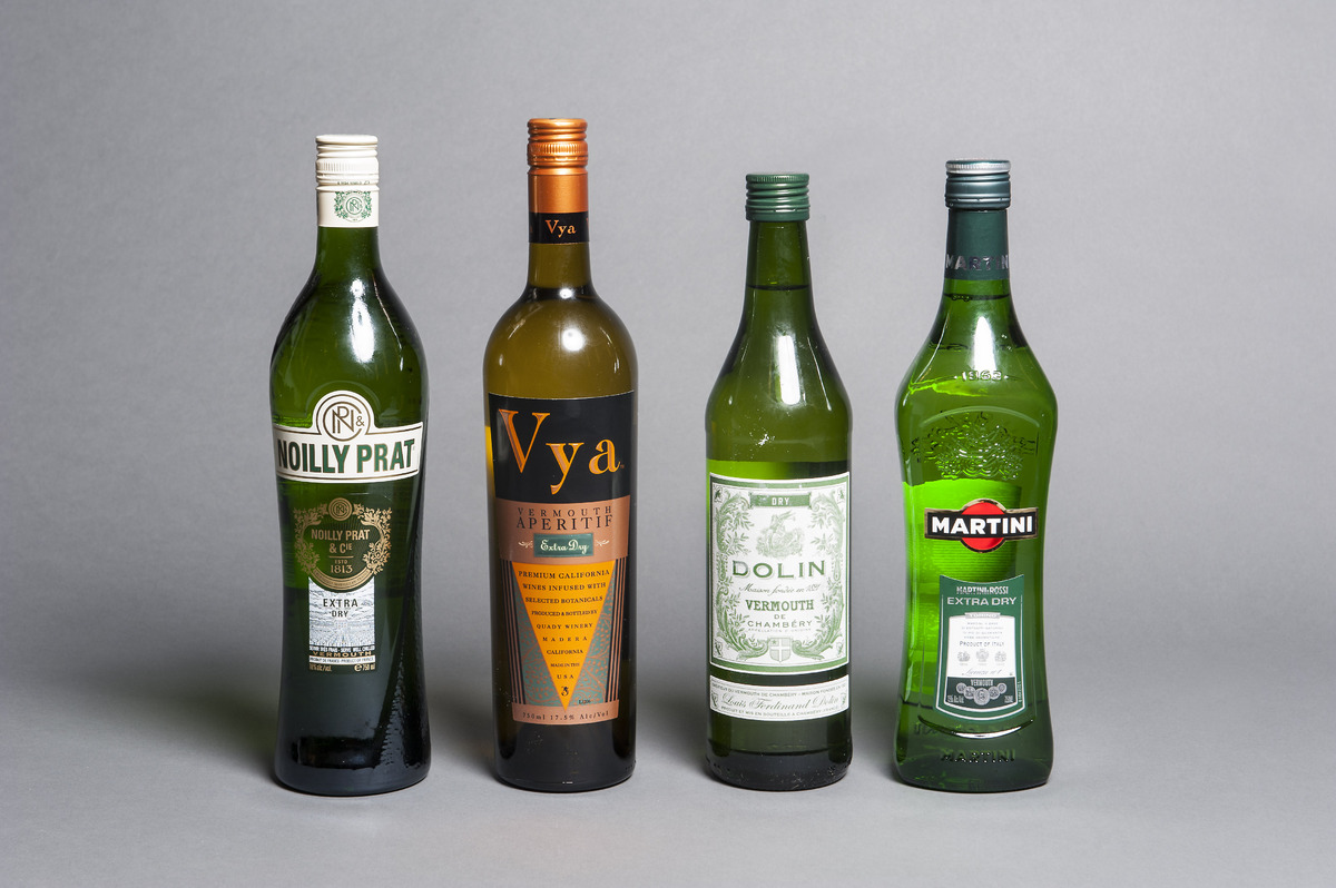 From left to right, with prices per bottle: Noilly Prat ($14 for 1 L), Vya ($20 for 750 mL), Dolin ($14 for 750 mL), Martini