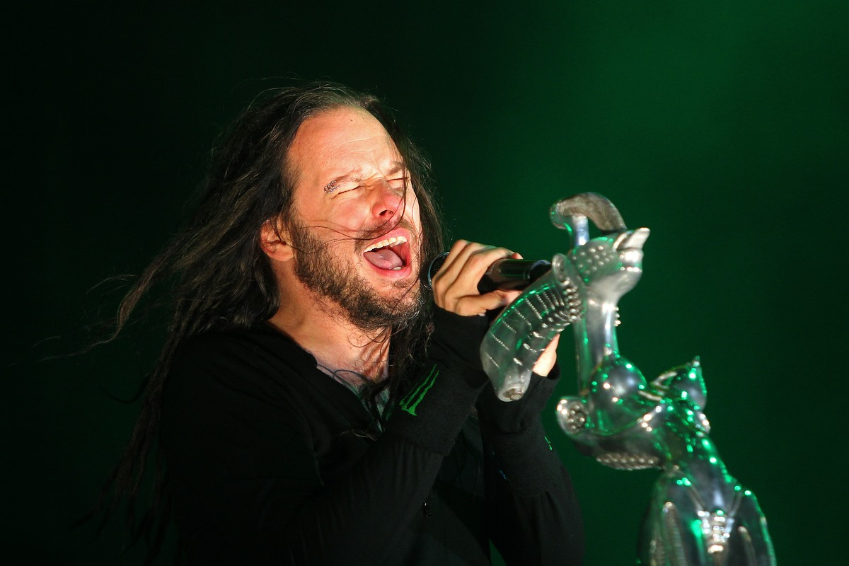 In this picture made available, Saturday June 8, 2013, Jonathan Davis, frontmann of US band Korn performs on stage at the Roc