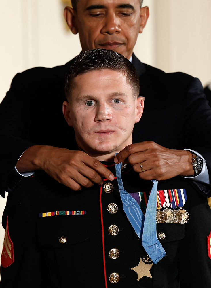 Retired Marine Cpl. William 'Kyle' Carpenter received the Medal of Honor from U.S. President Barack Obama during a Medal of H