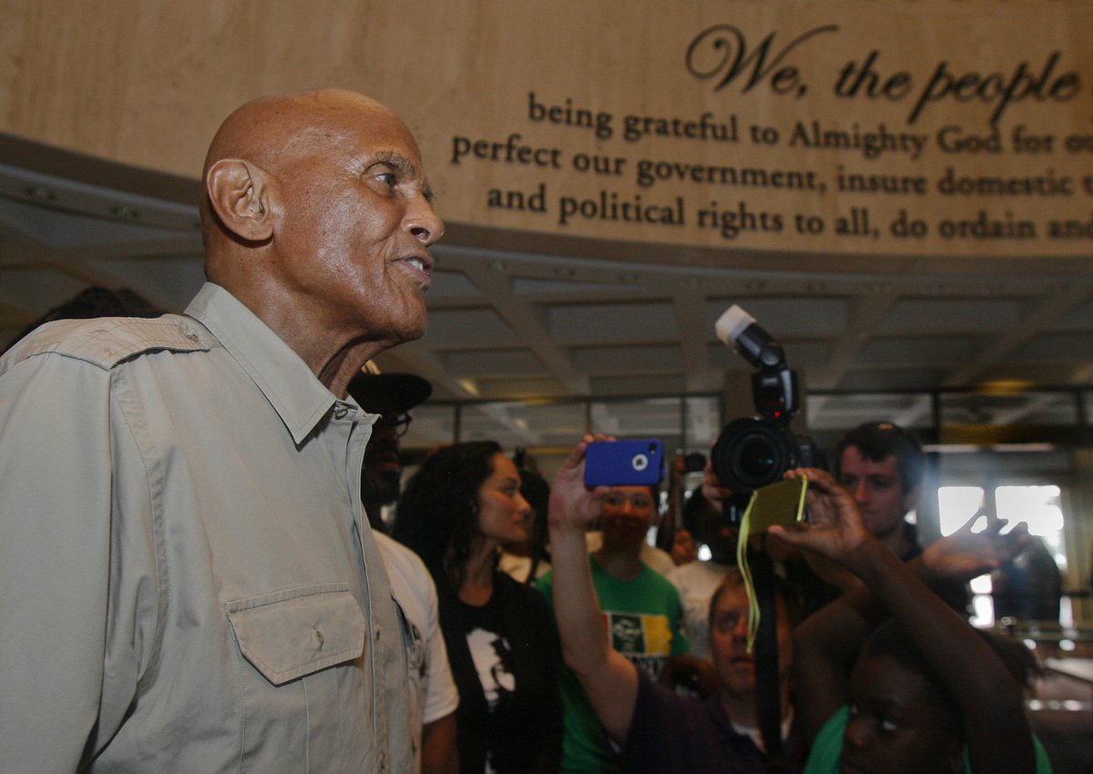 American singer, songwriter, actor and social activist Harry Belafonte, Jr. speaks to Dream Defenders Friday, July 26, 2013 i