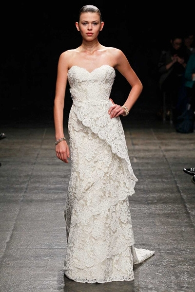 "These lacy layers are so elegant.  <a href=""http://lover.ly/explore/dresses/bride?q=lace&utm_source=huffpo07-10-13rusticg"