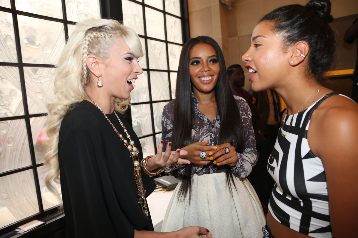 NEW YORK, NY - JULY 31: (L-R) Lauriana Mae, Angela Simmons and Hannah Bronfman attend the Angela I Am Exclusive Launch Party