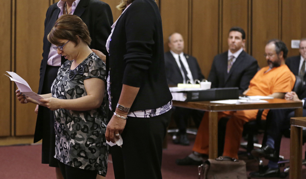 Michelle Knight speaks during the sentencing phase for Ariel Castro Thursday, Aug. 1, 2013, in Cleveland. Three months after