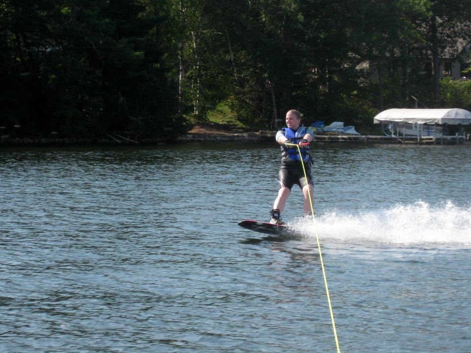 I've been water skiing since I was little, but last summer I decided to try wake boarding. I got up on my very first try and