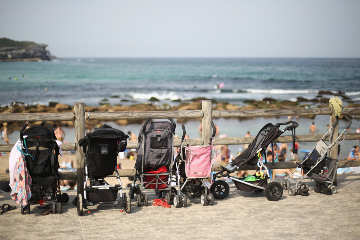 Prams are parked on the walkway above the beachside Bronte pool at Bronte beach on December 1, 2012 in Sydney, Australia. Tem