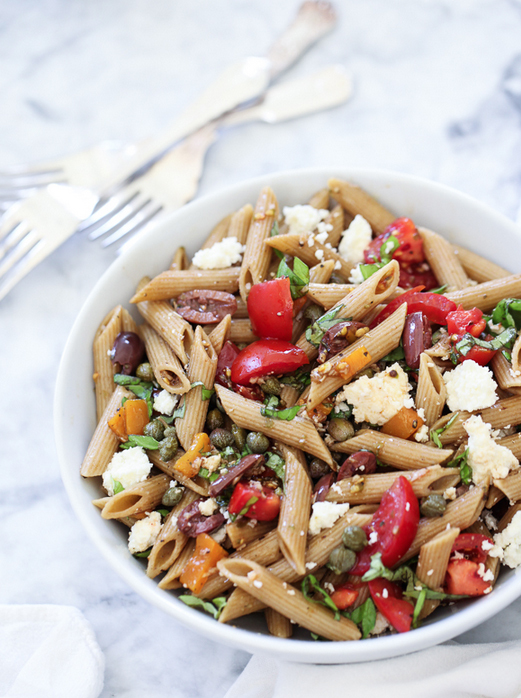 "<strong>Get the <a href=""http://www.foodiecrush.com/2013/07/greek-pasta-salad/"" target=""_blank"">Greek Pasta Salad recipe</a>"