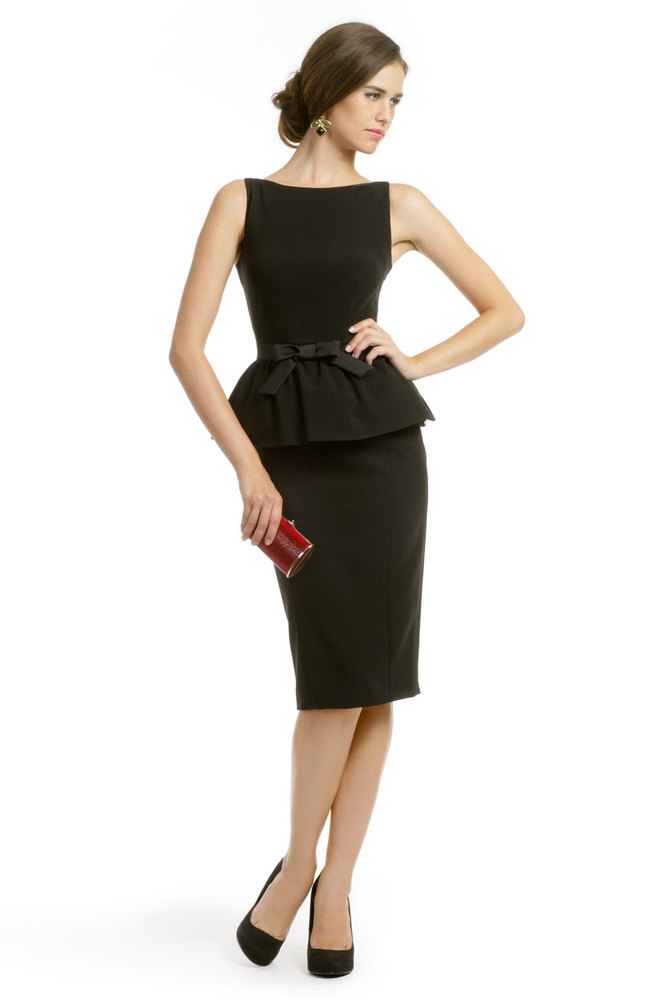 """A bow belt adds a feminine touch to an of-the-moment peplum dress.  <a href=""""http://lover.ly/explore?q=bow&utm_source=huf"""