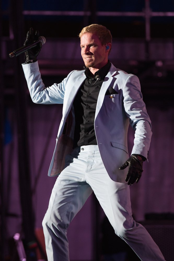 CHICAGO, IL - AUGUST 02: Brian Littrell of Backstreet Boys performs during the opening night of 'In a World Like This' 2013 t
