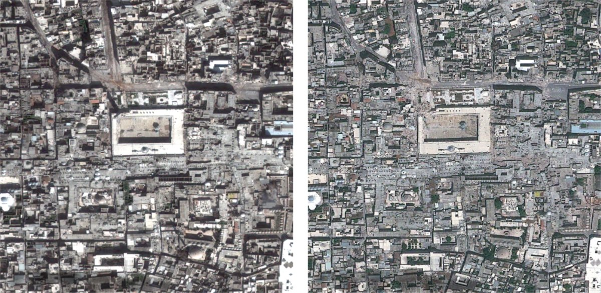 March 1, 2013 (left) vs. May 26, 2013 (right). Coordinates: 36.199 N, 37.159 E. Images © 2013 Astrium; Digital Globe. Analysi