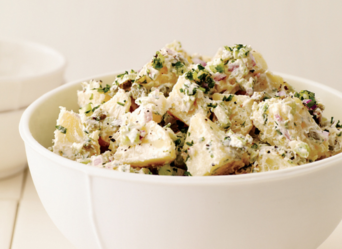 "<strong>Get the <a href=""http://www.huffingtonpost.com/2011/10/27/potato-salad-with-hummus-_n_1058628.html"" target=""_hplink"">"