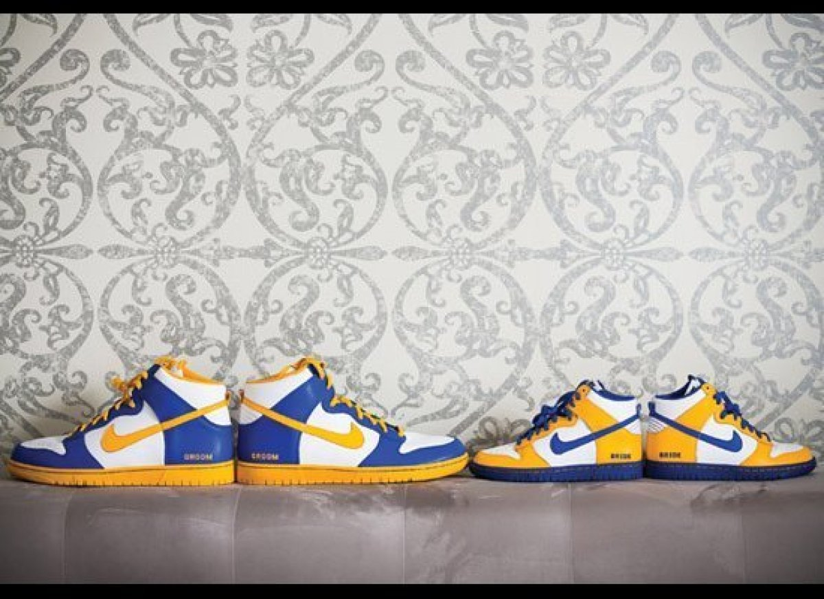 One groom ordered these matching dunks for the couple to wear during their reception. The kicks were custom designed with the