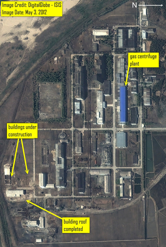This is an clos eup satellite image of the Yongbyon, North Korea Fuelfab from May 3rd, 2012. (Photo DigitalGlobe/ISIS via Get