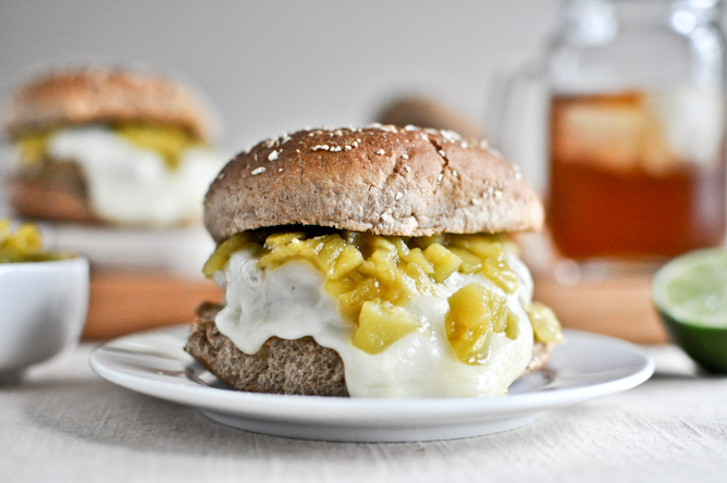 "<strong>Get the <a href=""http://www.howsweeteats.com/2012/04/green-chili-chicken-burgers/"">Green Chile Chicken Burgers recipe"