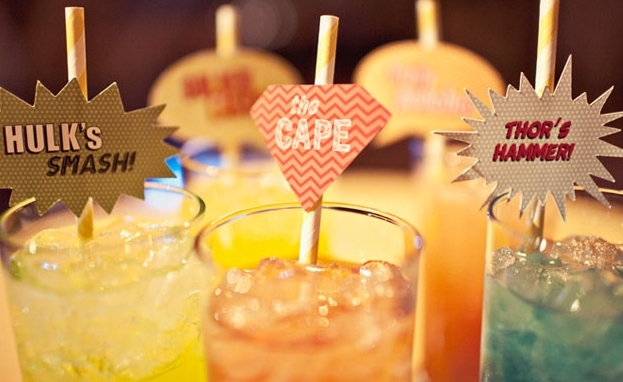 "Signature cocktails get a creative twist when you give them superhero-inspired names.  <a href=""http://lover.ly/explore?q=sig"