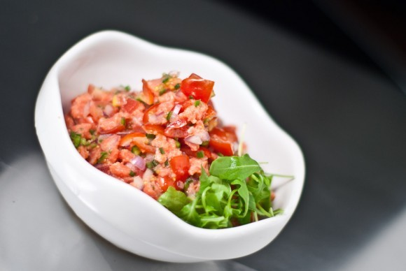 """<strong>Get the <a href=""""http://norecipes.com/blog/lomi-lomi-salmon/#sthash.OPxvrc9s.dpbs"""" target=""""_blank"""">Lomi Lomi Salmon r"""