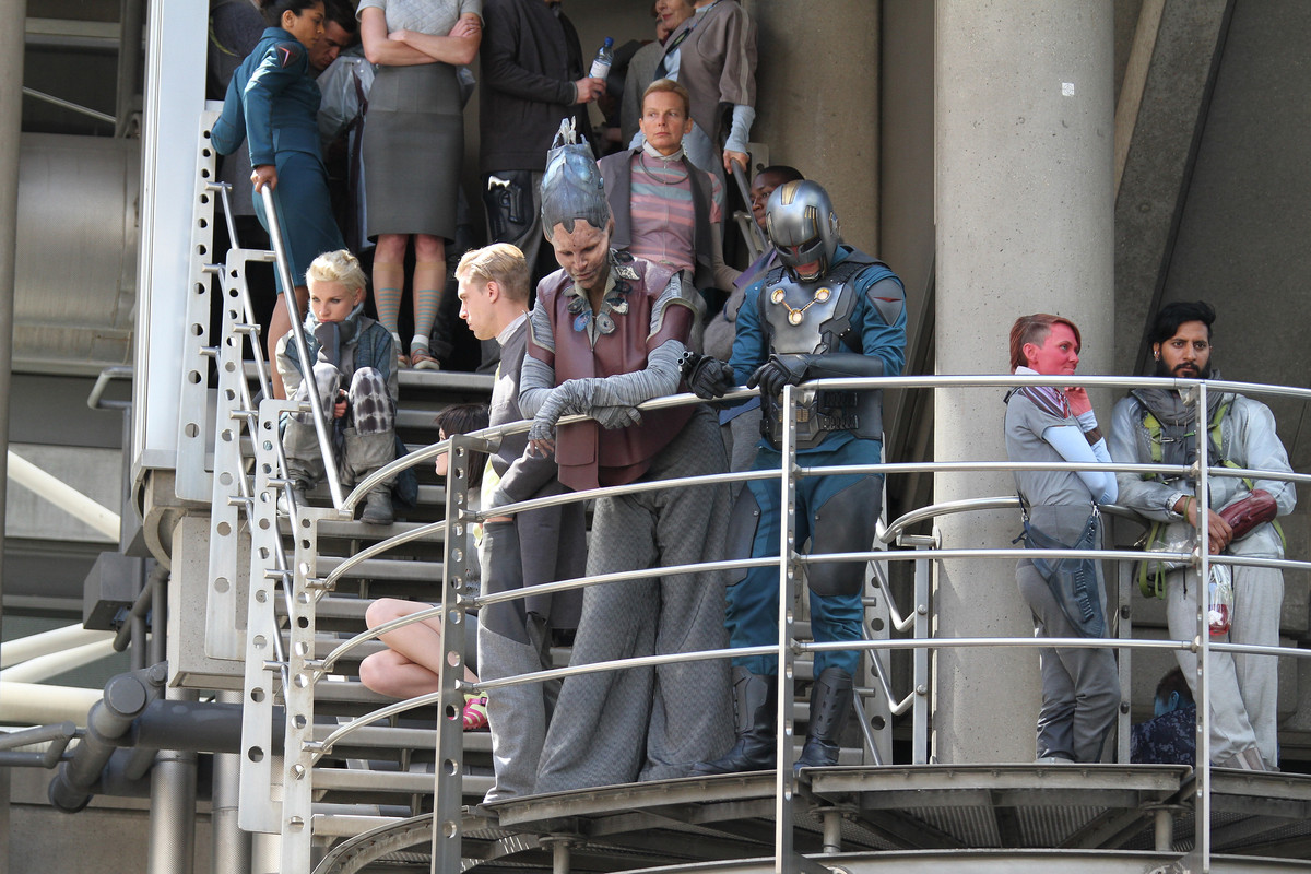 LONDON, UNITED KINGDOM - AUGUST 11: Extras filming scenes for 'Guardians of the Galaxy' on August 11, 2013 in London, England