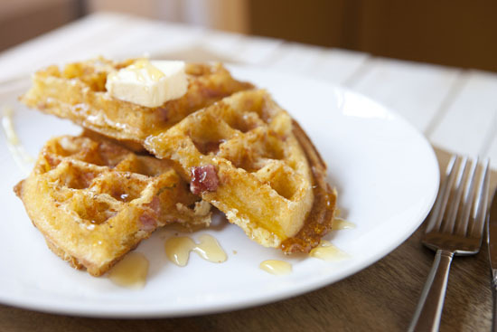 """<strong>Get the <a href=""""http://www.macheesmo.com/2013/06/ham-and-cheese-waffles/"""" target=""""_blank"""">Ham and Cheese Waffles rec"""