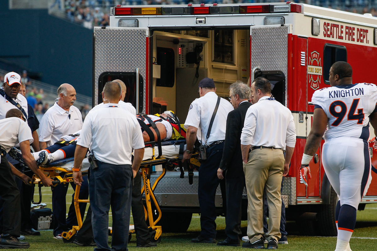Derek Wolfe Neck Injured Broncos DE Taken Away In Ambulance