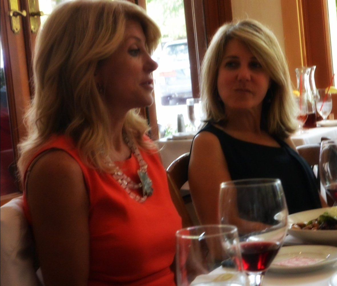 Wendy Davis and Marlene Saritzki at lunch in Mill Valley California