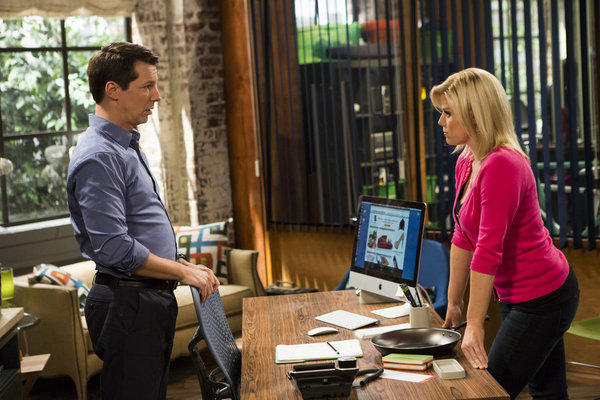 Pictured: (l-r) Sean Hayes as Sean, Megan Hilty as Liz