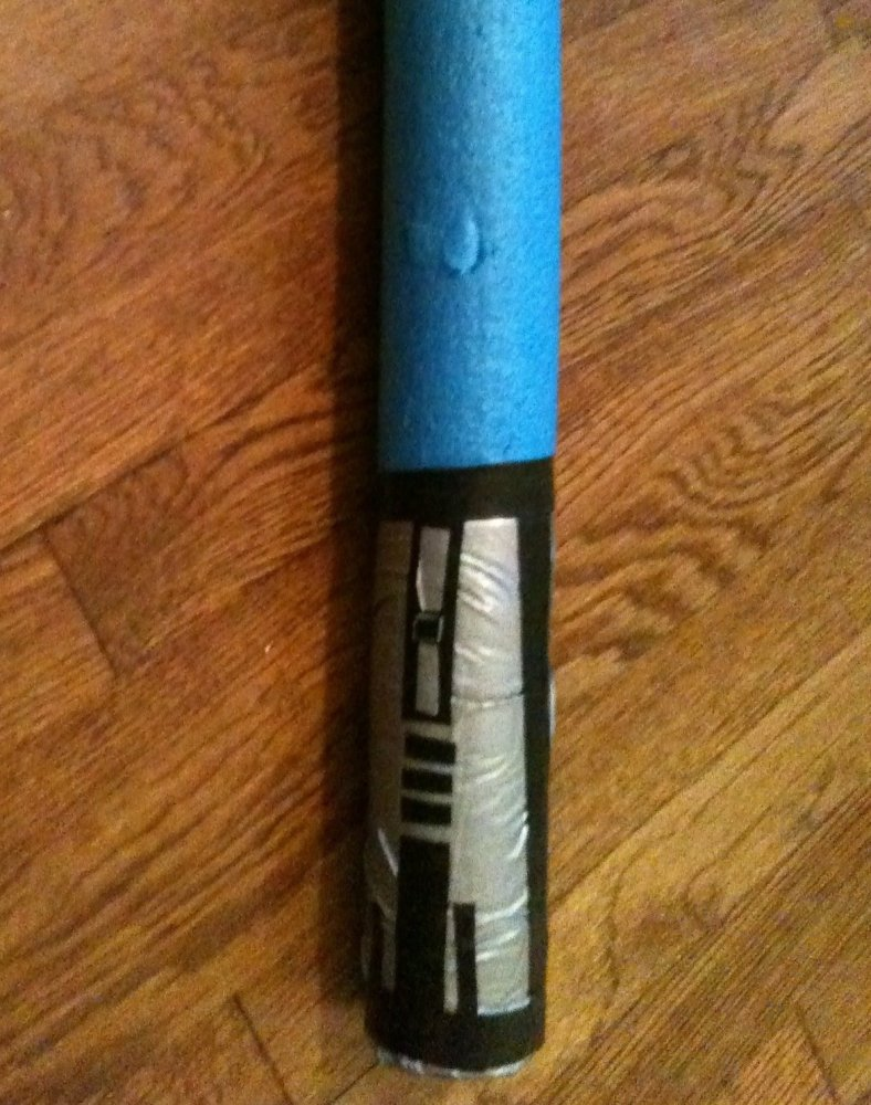 Typical pool noodle light saber made of duct tape and pool noodle.