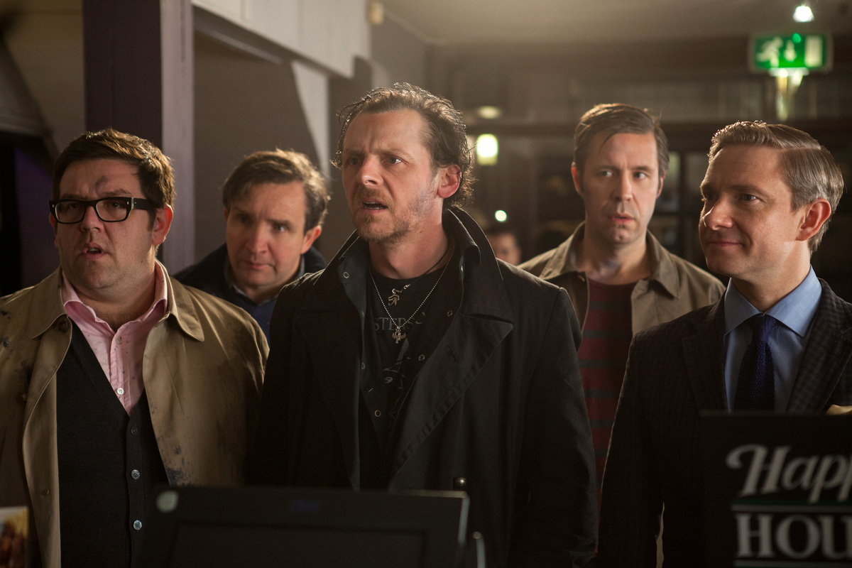 This film publicity image released by Focus Features shows, from left, Nick Frost, Eddie Marsan, Simon Pegg, Paddy Considine
