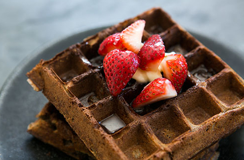 "<strong>Get the <a href=""http://www.simplyrecipes.com/recipes/buckwheat_waffles/"" target=""_blank"">Buckwheat Waffles recipe</a"
