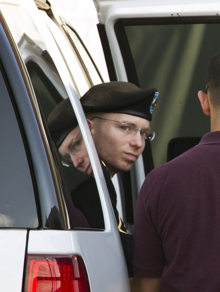 FILE - In this Friday, June 28, 2013 file photo, Army Pfc. Bradley Manning arrives at the courthouse in Fort Meade, Md., for