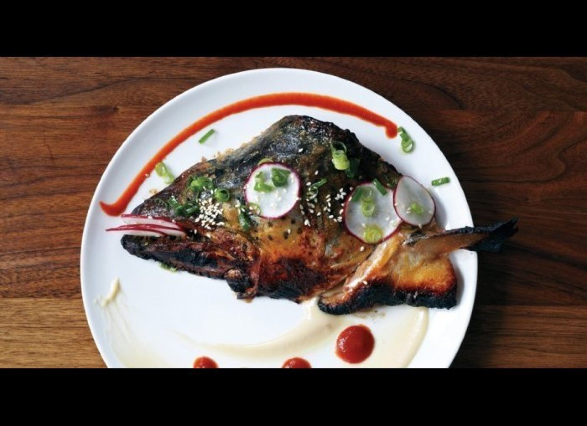 Why throw away what could be a signature dish? Miso-maple roasted salmon head, fish-head terrine, and both country-fried and