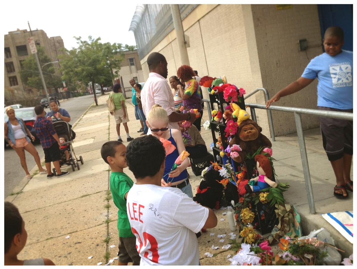 Students, parents and teachers gathered on Monday to make a shrine for the closing Fairhill Elementary School in Philadelphia
