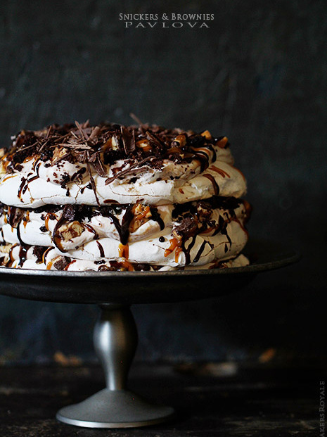 """<strong>Get the <a href=""""http://www.bakersroyale.com/cakes/snickers-and-brownie-pavlova/"""" target=""""_blank"""">Snickers and Browni"""