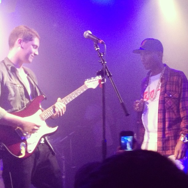 Cris and Pharrell together on stage in NYC.