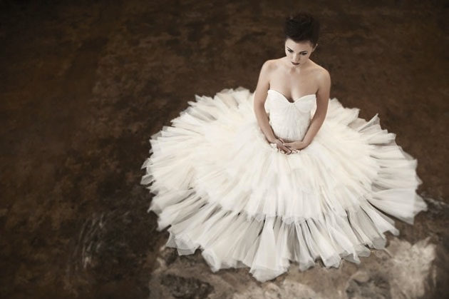 """This prima ballerina look is perfect for a bride who wants all eyes on her.  <a href=""""http://lover.ly/explore?q=ruffled+dress"""