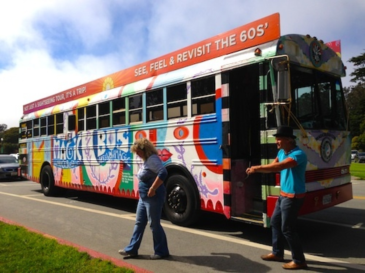 The Magic Bus makes a rest stop at Golden Gate Park in San Francisco.