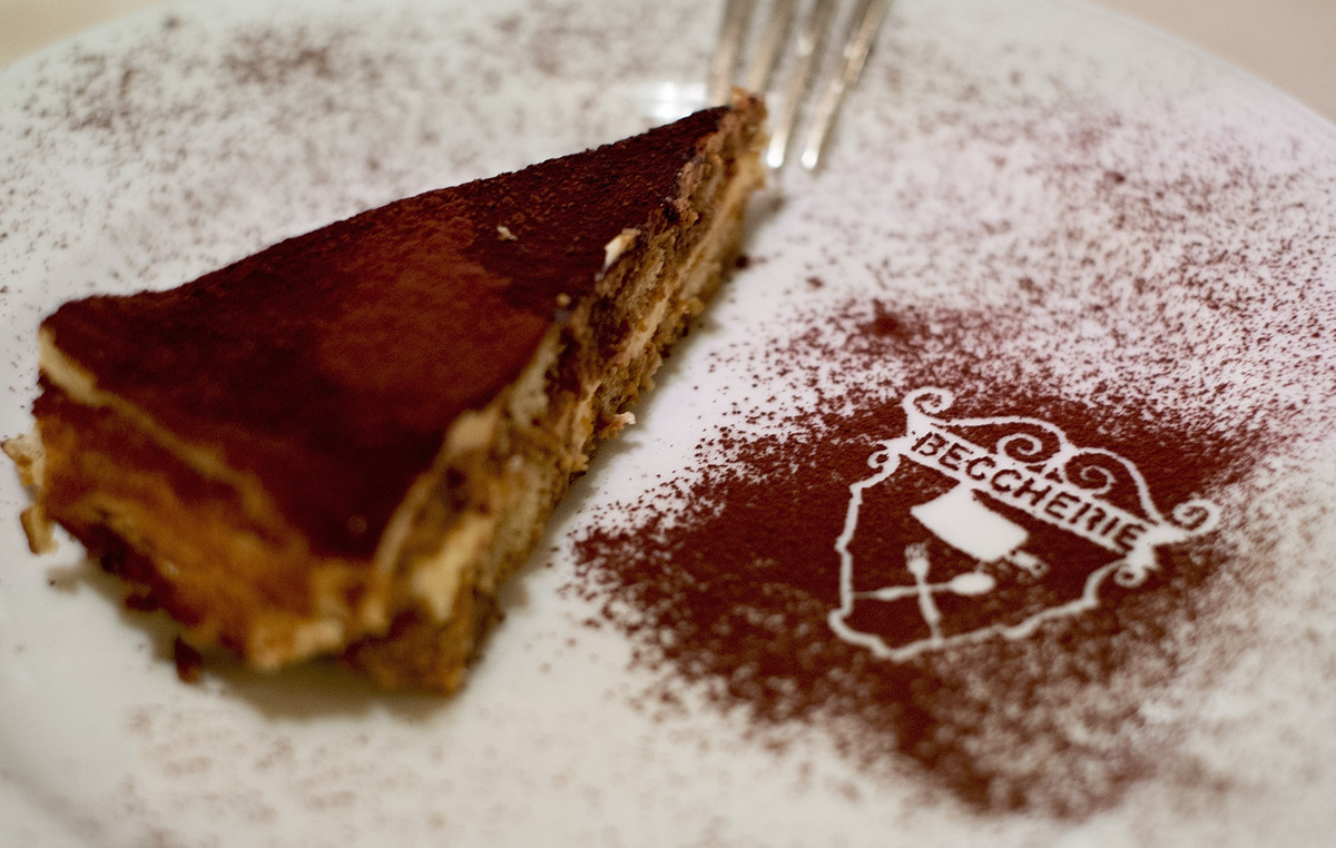 A slice of Tiramisu is seen at the Restaurant 'Alle Beccherie on August 24, 2013 in Treviso, Italy. Treviso claims that Tiram