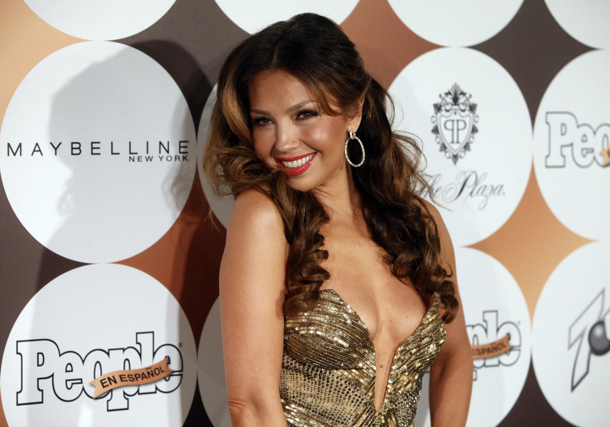"""Mexican singer Thalia arrives for People en Espanol's """"50 Most Beautiful"""" gala, Tuesday, May 15, 2012 in New York. (AP Photo/"""