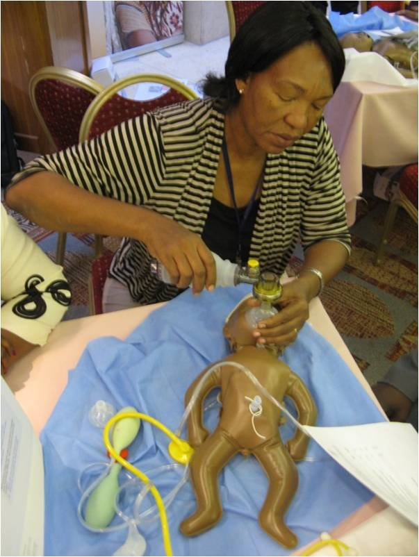 The HBB (Helping Babies Breathe) curriculum includes hands-on practical learning with a low-cost newborn simulator and learni