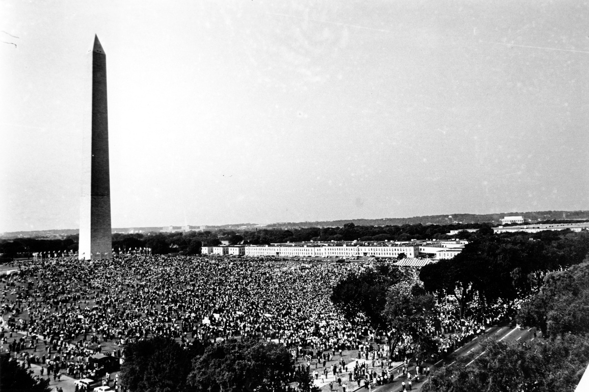 FILE - In this Aug. 28, 1963, file photo shows civil rights demonstrators gather at the Washington Monument grounds before no