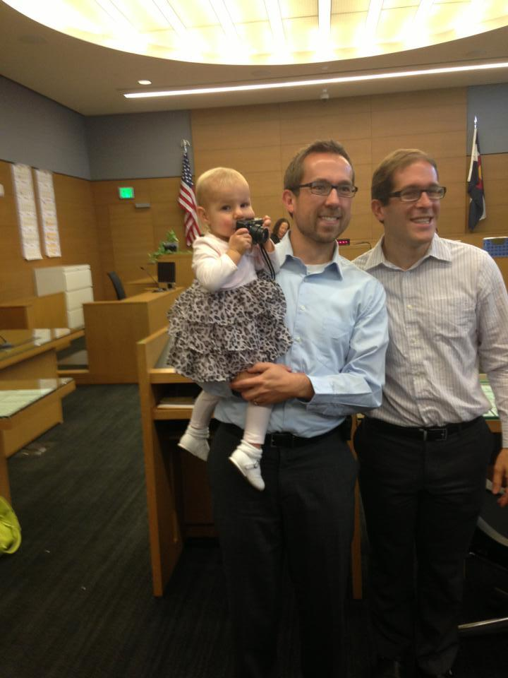 Colorado House Speaker Mark Ferrandino's partner Greg Wertsch posted this photo from Wednesday's adoption hearing when they w