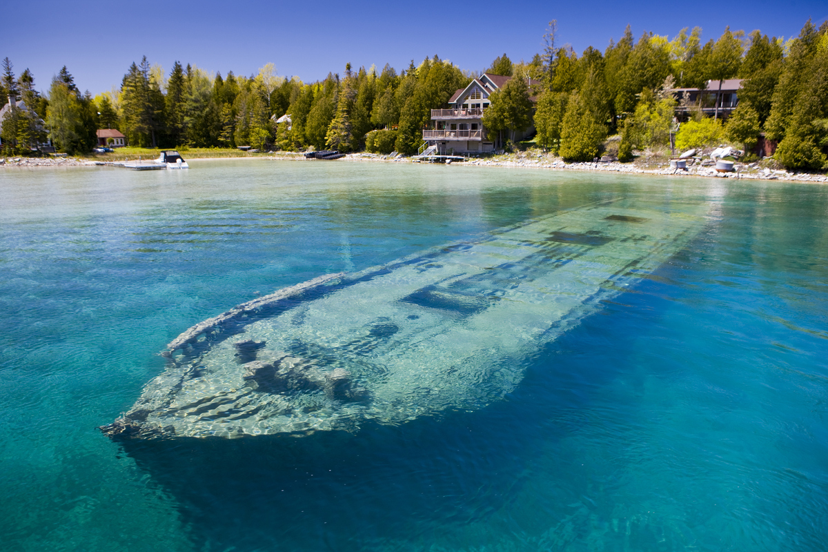 Wreck of the Sweepstakes, a ship built in 1867, in Big Tub Harbour, Fathom Five National Marine Park, Tobermory, Ontario. The