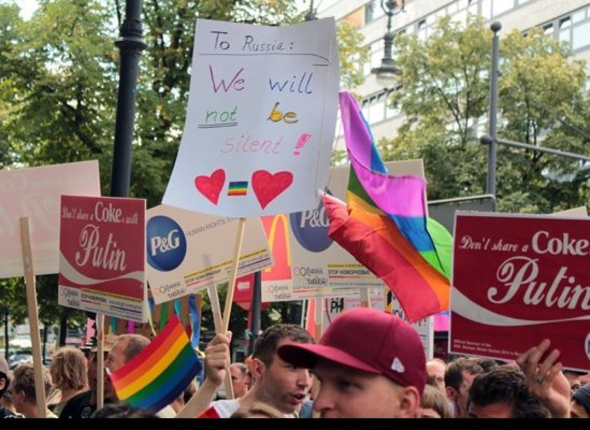 """The """"Stop Homophobia"""" rally in Berlin started on the popular Kurfurstendamm street. Many demonstrators shared messages relati"""